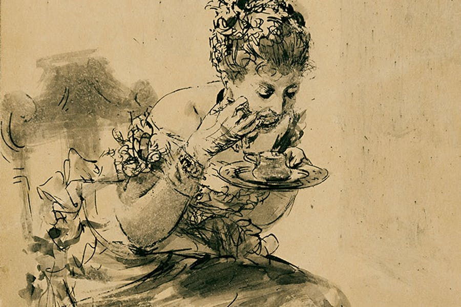 A Seated, Elegantly Dressed Lady Eating from a Plate (1878), Adolph Menzel, courtesy Stephen Ongpin Fine Art
