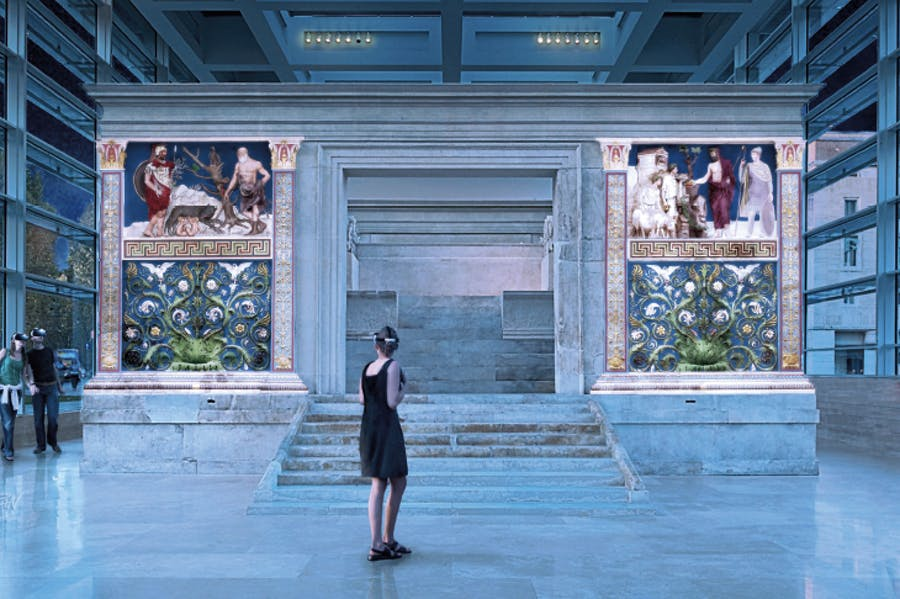 A visualisation of what visitors to the Ara Pacis Museum see via their AR headsets. Image: © Zètema Progetto Cultura