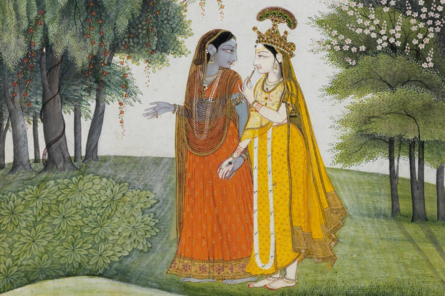 Krishna and Radha walking by the Jumna by moonlight having exchanged clothes (detail; c. 1820), Kangra. © The Fitzwilliam Museum, Cambridge.