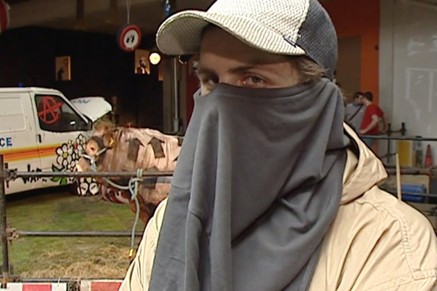 Footage of a man claiming to be Banksy from a news report in 2003; © ITN