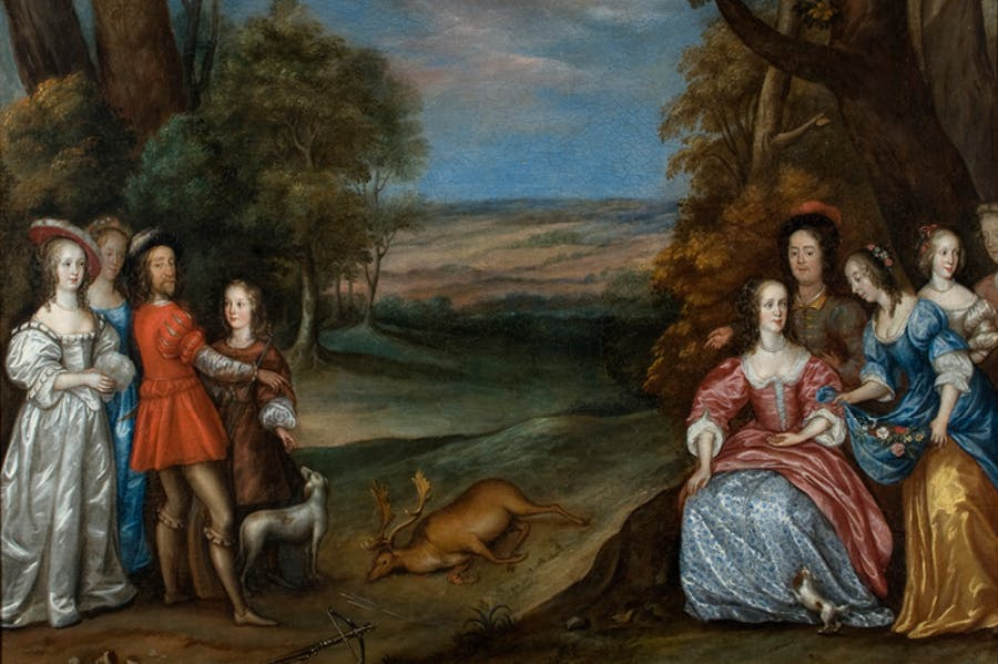 The Carlile Family with Sir Justinian Isham in Richmond Park ('The Stag Hunt') (detail; 1650s), Joan Carlile. Lamport Hall
