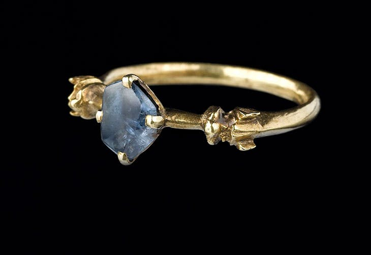 Sapphire ring, from the Colmar Treasure (second quarter 14th century).