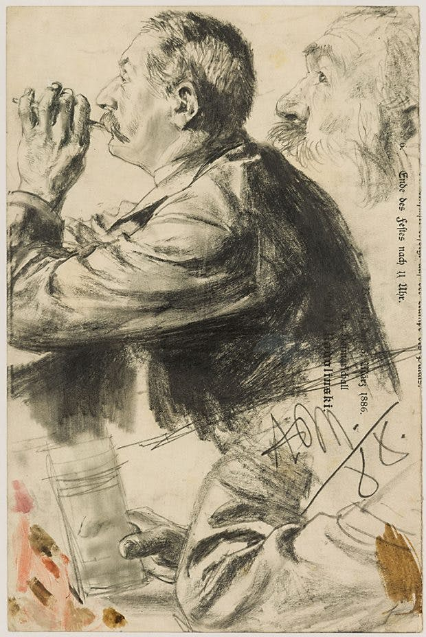 Studies of a Man Smoking, in Profile (1878), Adolph Menzel, courtesy Stephen Ongpin Fine Art