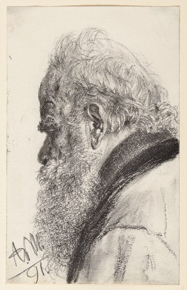 A Bearded Man Looking Down to the Left (1891), Adolph Menzel, courtesy Stephen Ongpin Fine Art
