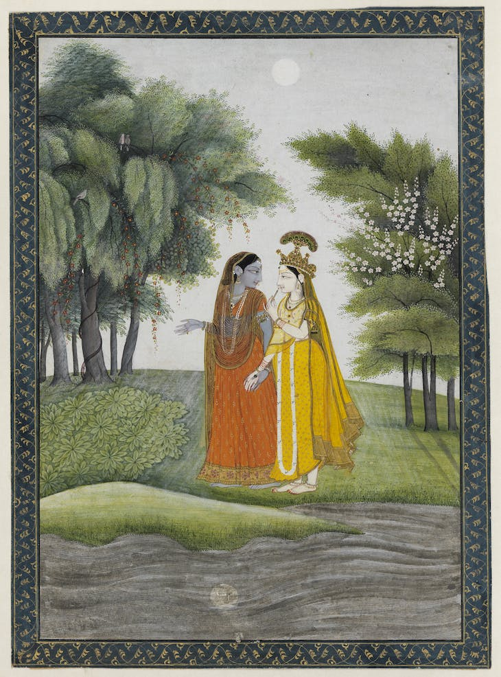 Krishna and Radha walking by the Jumna by moonlight