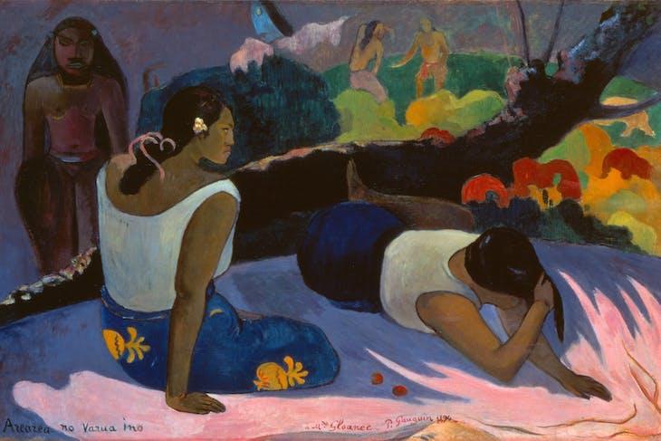 Reclining Tahitian Women, or The Amusement of the Evil Spirit (Arearea no varua ino) (1894), Paul Gauguin.
