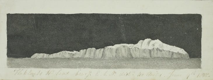 One of a series of 14 recognition sketches of the coast of Spitsbergen, made during whaling voyages (1814–15).