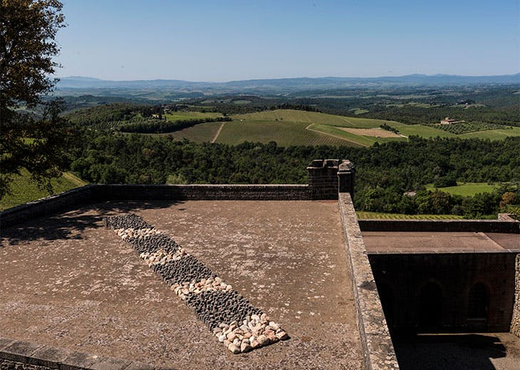 Richard Long's work installed at Castello di Brolio.