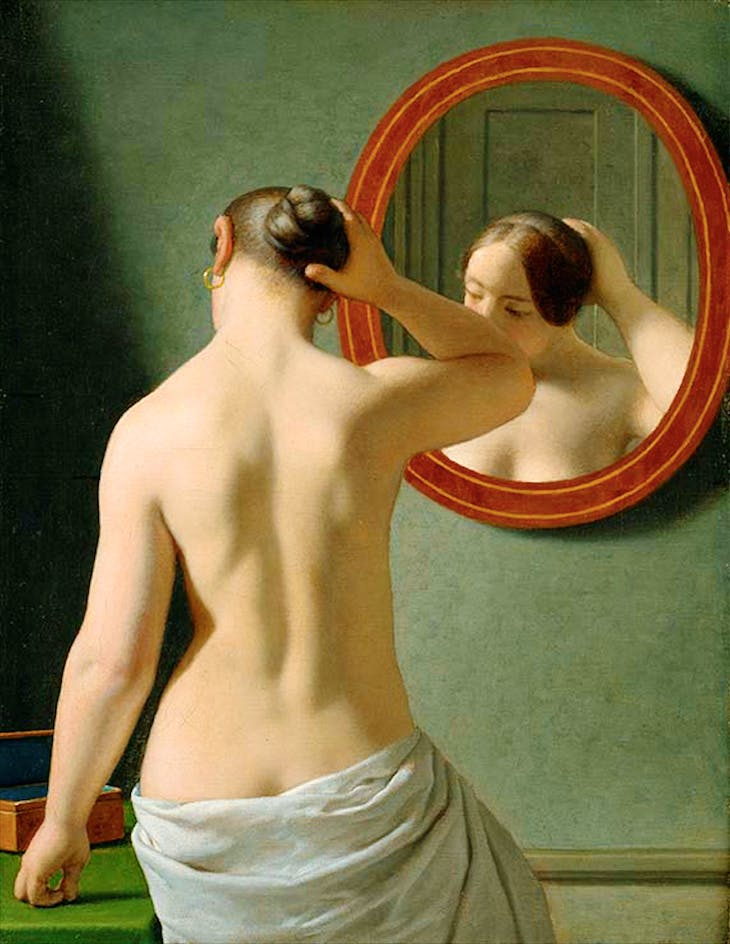 Woman Standing in Front of a Mirror (1841), Christoffer Wilhelm Eckersberg.