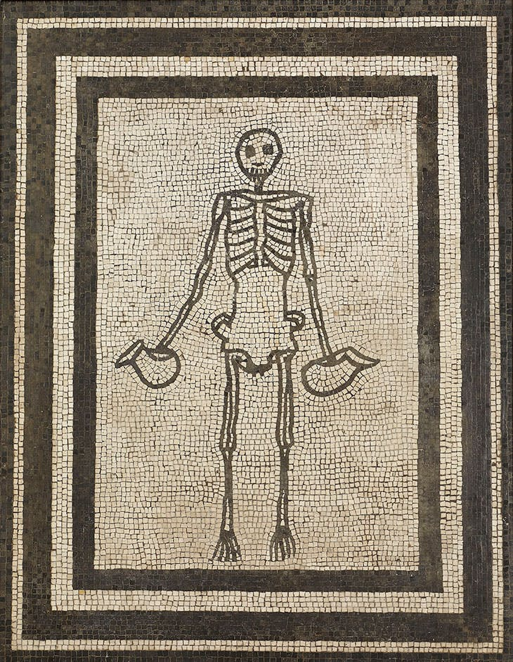 Monochrome mosaic panel of a skeleton holding two wine jugs (AD 1–50)