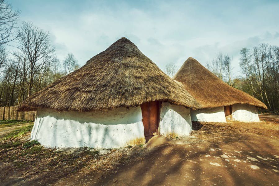 A reconstructed Iron Age farmstead at St Fagans National Museum of History, Wales.