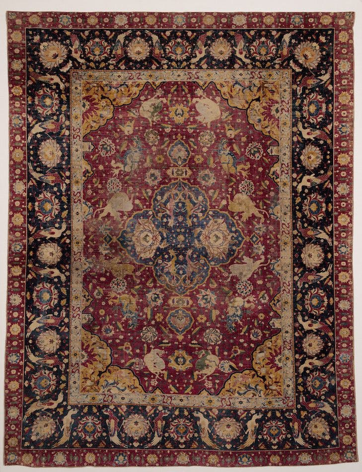 'Animal fighting' carpet (mid 16th century), Kashan, Persia.