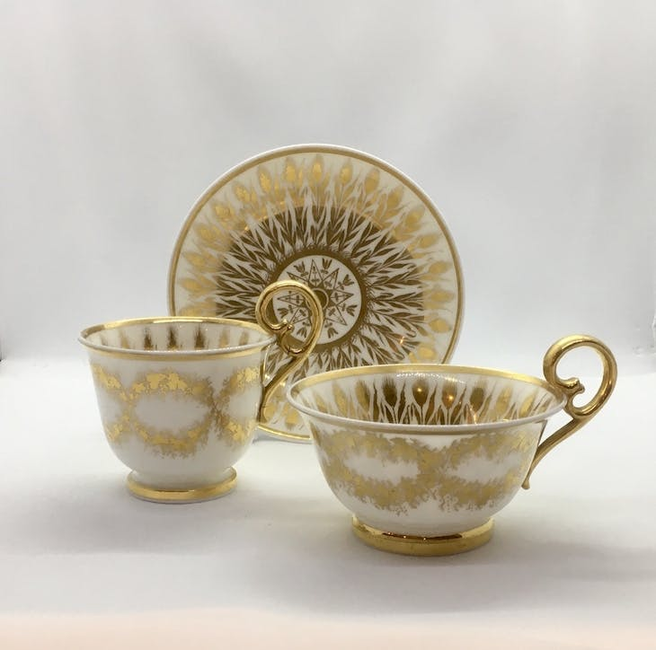 Trio from the Wylde Service (c. 1817–20), Nantgarw China Works.