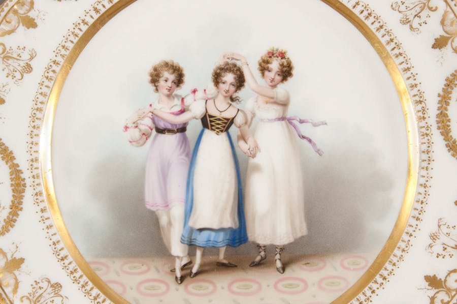 The Three Graces (detail; c. 1818–20), Nantgarw China Works.