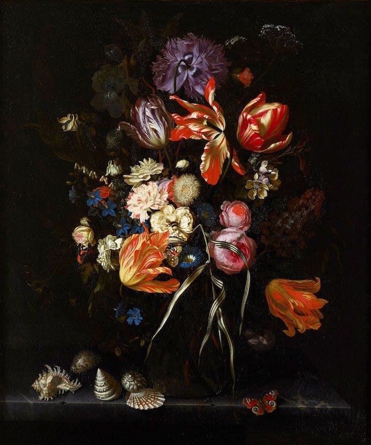 Still Life of Flowers in a Glass Vase (c. 1685), Maria van Oosterwyck.