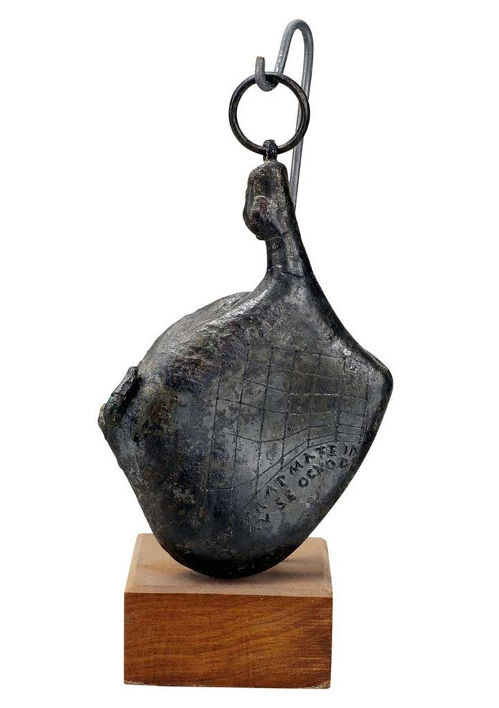 Portable sundial in the shape of a ham (1st century BC–1st century AD), Roman.