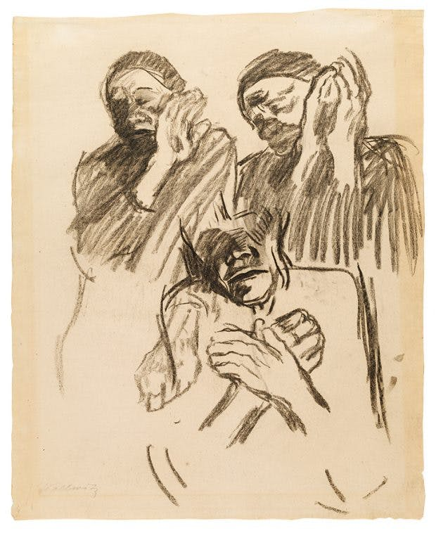 Three Studies of a Woman in Mourning, 1905, Käthe Kollwitz, Hunterian Art Gallery, University of Glasgow