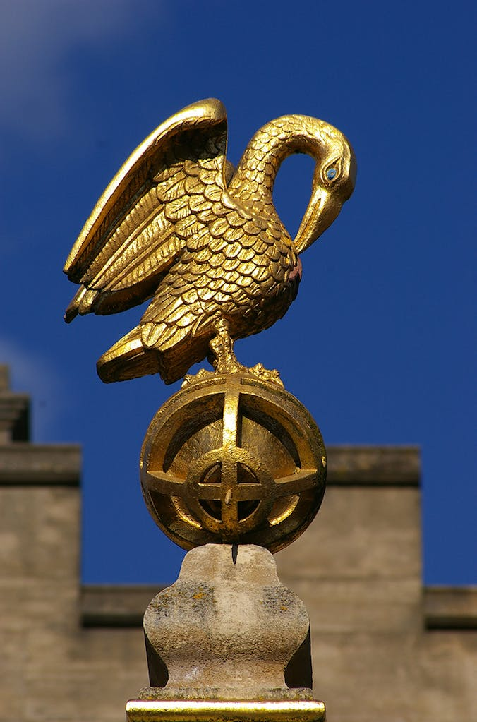 The pelican sundial (1581), based on a design by Charles Turnbull, at Corpus Christi College, Oxford