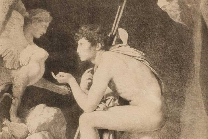 Sigmund Freud's reproduction print of Jean-Auguste-Dominique Ingres' Oedipus and the Sphinx by Ingres (1808).