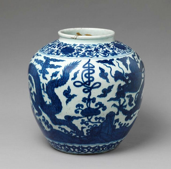Jar with dragon and stylized character for longevity (16th century), China.