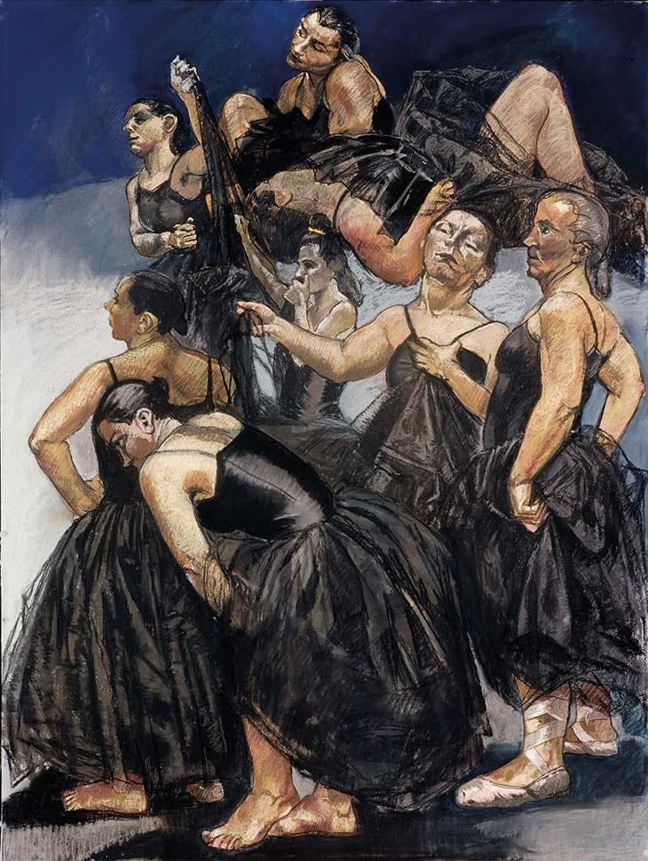 Right-hand panel of Dancing Ostriches (1995), Paula Rego.
