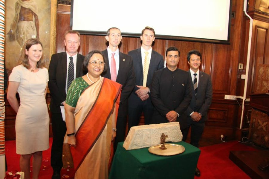 Two illegally smuggled antiquities are returned to India at India House in London.