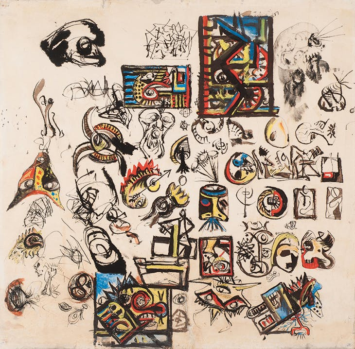Untitled (Drawing with two signatures) (1943–47), Jackson Pollock. Menil Drawing Institute, Houston (promised gift from the collection of Louisa Stude Sarofim)