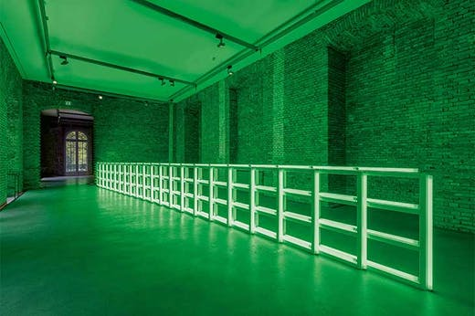 untitled (to you, Heiner, with admiration and affection) (1973), Dan Flavin. Installation view of 'Königsklasse', Herrenchiemsee Palace, Munich, 2019.