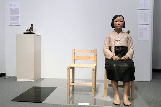 Installation view of Kim Seo-kyung and Kim Eun-sung's Statue of a Girl of Peace (2011) at the Aichi Triennale 2019 in Nagoya.