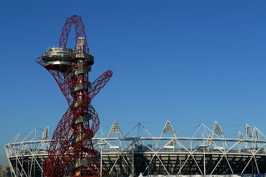 The ArcelorMittal Orbit Sculpture and the Olympic Stadium in 2012.