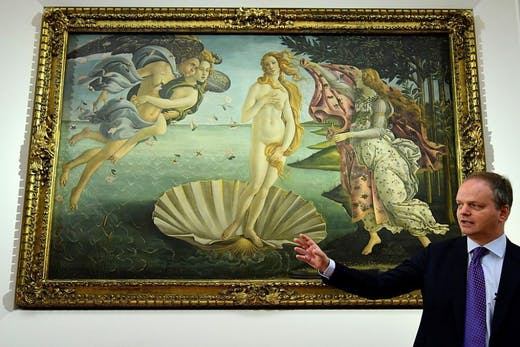 Uffizi director Eike Schmidt in front of Botticelli's Birth of Venus, at the reopening of the gallery's room dedicated to the artist in 2016.