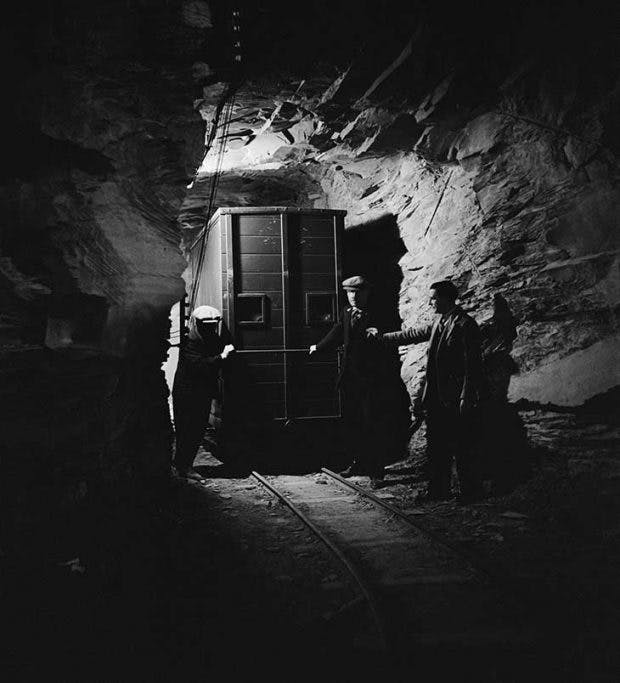 A painting from the collection of the National Gallery in transit at the Manod Quarry slate caverns, Merionethshire, Wales, in September 1942
