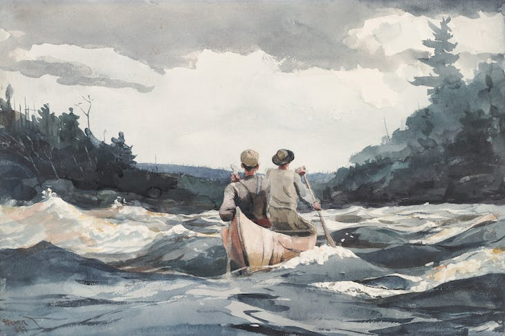Canoe in Rapids (1897), Winslow Homer.