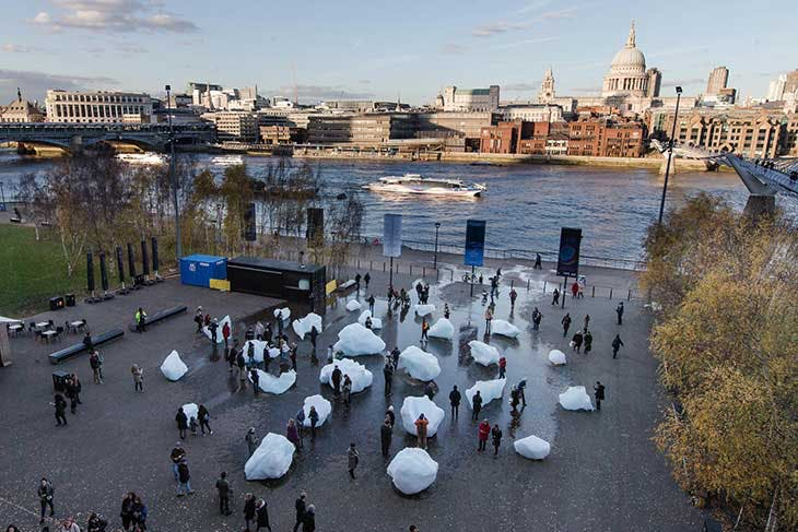 Installation view of Olafur Eliasson and Minik Rosing's Ice Watch, Bankside, outside Tate Modern, 2018.