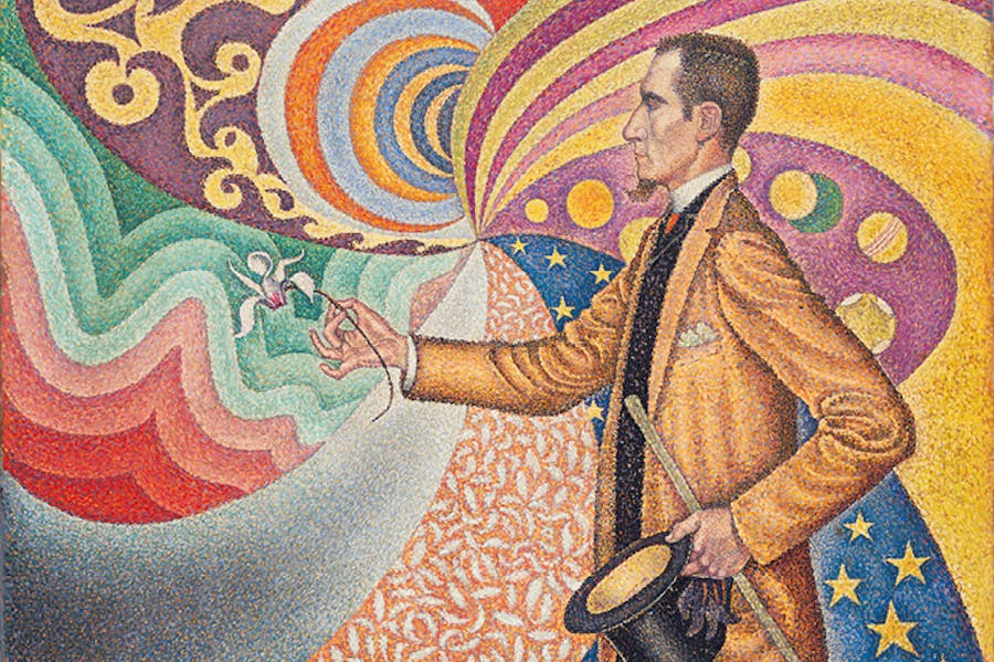 Opus 217. Against the Enamel of a Background Rhythmic with Beats and Angles, Tones and Tints, Portrait of M. Félix Fénéon in 1890 (1890), Paul Signac. Museum of Modern Art, New York.