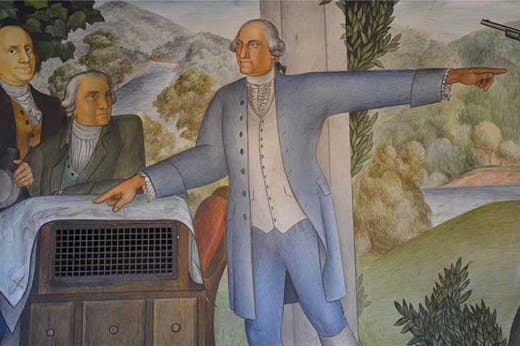 Detail from Victor Arnautoff's The Life of Washington mural at George Washington High School in San Francisco.