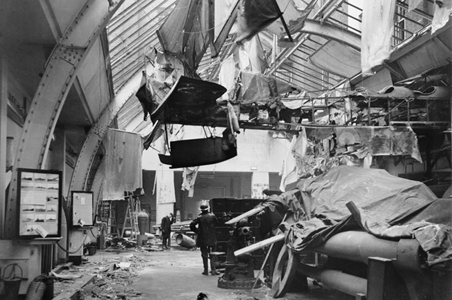 Air raid damage to the Naval Gallery at the Imperial War Museum, London, 31 January 1941. Photo: © IWM