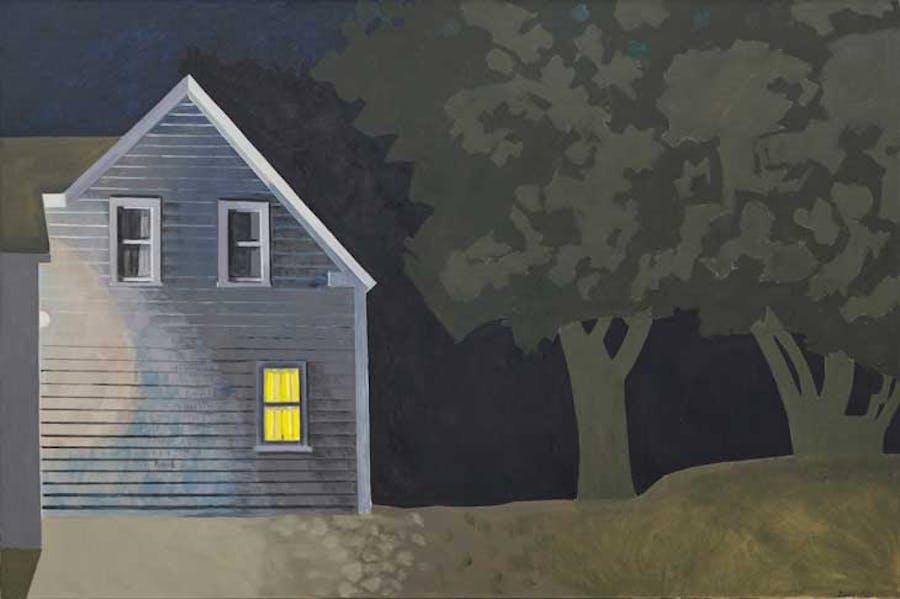 Night House with Lit Window (2012), Lois Dodd.