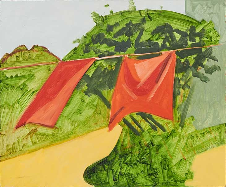 Red Curtains and Lace Plant (1978), Lois Dodd.