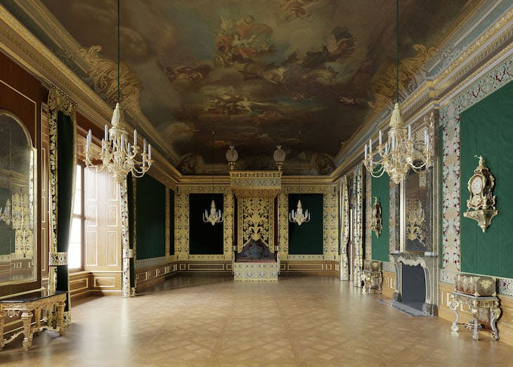Virtual reconstruction of the Parade Room at the State Apartments in 1719.
