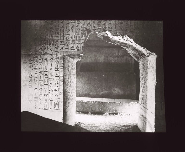 A lantern slide showing the burial chamber of the Pyramid of Unas. Brooklyn Museum