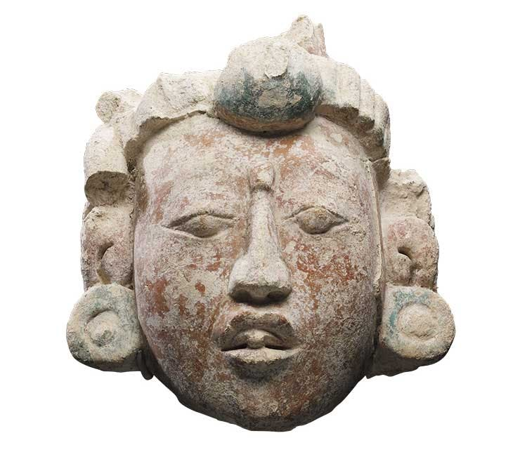 Portrait head (550–850), Campeche, Mexico. Walters Art Museum, Baltimore