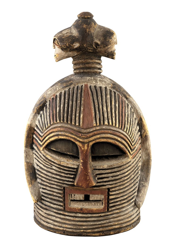 Double-headed helmet mask (19th/early 20th century), Luba, Democratic Republic of Congo. Musée d'Art Moderne de la Ville de Paris.