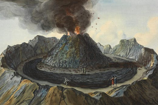 Interior view of the crater of Mount Vesuvius, as it was before the eruption of 1767; detail of a plate in William Hamilton, Campi Phlegraei (1776).