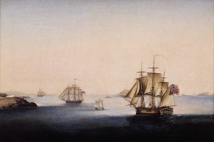 Sailing from Salem Harbor on the 21st of February 1802 (detail; before 1819), George Ropes.