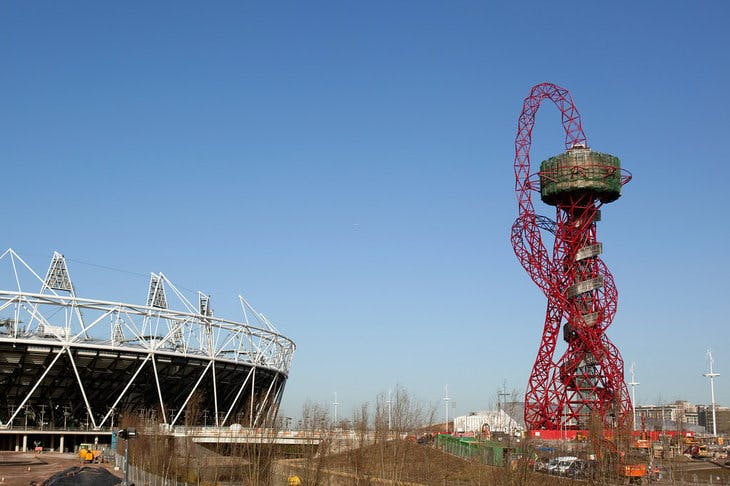 The ArcelorMittal Orbit as seen at the 2012 Olympic Park in East London December 12, 2011.