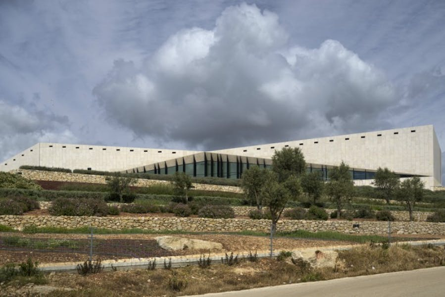 Main view of the Palestinian Museum in Birzeit, including its agricultural terraces.
