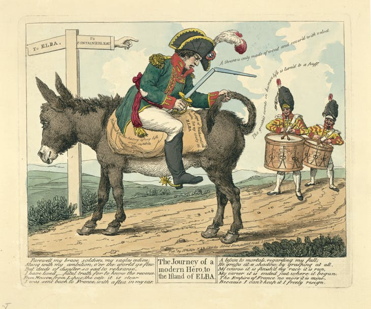 The journey of a modern hero, to the island of Elba (1814), artist unknown, published by J. Phillips.