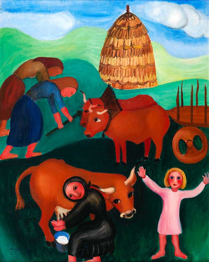 Peasant Girls and Oxen (1937), Sarah Affonso.