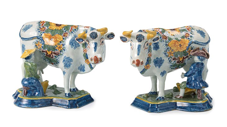 Pair of milking groups, Delft, 1750–80, tin-glazed earthenware. Gemeentemuseum den Haag – The Lavino Collection